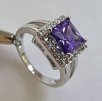 Кольцо с аметистом, принцесса 8х8мм (кварц) и топазами