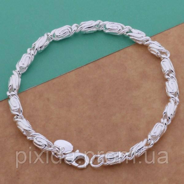 Браслет плетение улитка мелкое звено 925 серебро проба