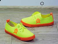 Мокасины (кеды) спортивные неоново-лимонные