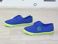 Мокасины (кеды) спортивные синие с лимонной подошвой
