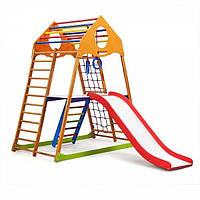 Детский спортивный комплекс для дома KindWood Plus 2 с горкой, сеткой, кольцами, лестницей ТМ SportBaby Разноцветный