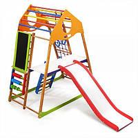 Детский спортивный комплекс для дома KindWood Plus 3 с горкой, сеткой, кольцами, счетами ТМ SportBaby Разноцветный