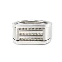 Кольцо-печатка из стали серебристая со жгутами Арт. RNM018SL, фото 3