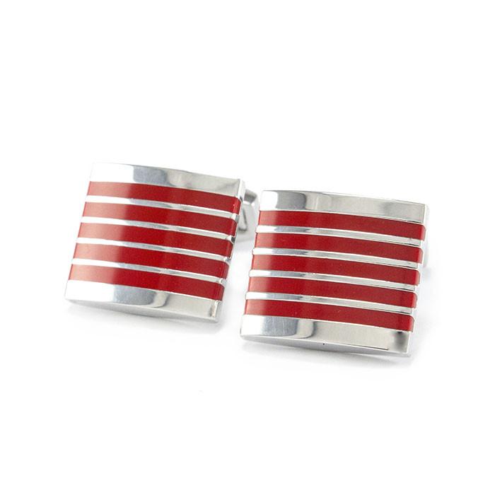 Запонки из стали с красными полосами Арт. CFM008SL