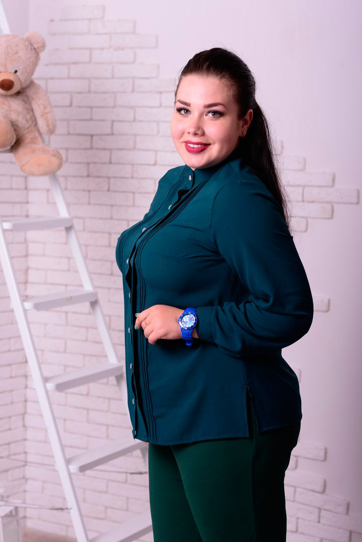 398ea7b08420 Зеленая блузка больших размеров Милан - V Mode, прямой поставщик женской  одежды в Харькове