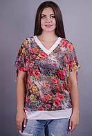 Дениз. Шифоновая блуза plus size. Цветы.