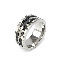 Кольцо из стали серебристое с черными полосами Арт. RNM015SL, фото 2