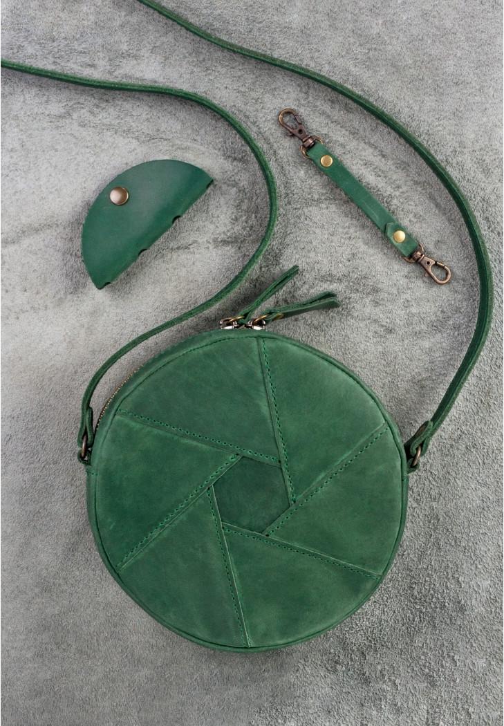 Круглая женская сумка-клатч кожаная зеленая  (ручная работа)
