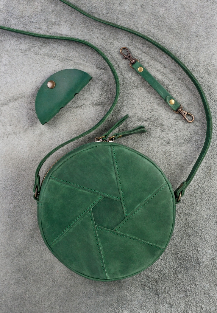 68750322c698 Круглая женская сумка-клатч кожаная зеленая (ручная работа) -  Интернет-магазин