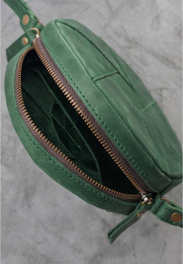 9cfcbe1d2c97 ... Круглая женская сумка-клатч кожаная зеленая (ручная работа), фото 4