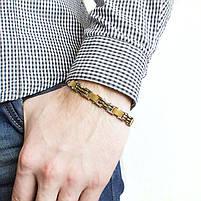 Браслет из стали двусторонний цвета желтого золота Арт. BSM008SL, фото 3