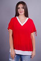 Дениз. Летняя блуза плюс сайз. Красный.