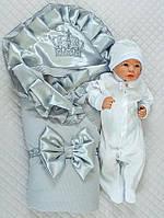 """Нарядный конверт-одеяло,комбинезон и шапка на выписку """"Элегантность"""""""