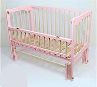 Кроватка шарнир откидная Кристинка комбинированный розовый+слоновая кость