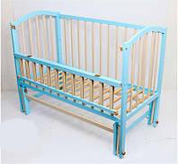 Кроватка шарнир откидная Алинка комбинированный голубой+слоновая кость