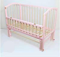 Кроватка шарнир откидная Алинка комбинированный розовый+слоновая кость