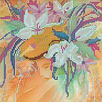 Схема для вышивки бисером на натуральном художественном холсте Девушка Зима