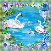Схема для вышивки бисером на натуральном художественном холсте Лебеди