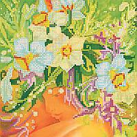 Схема для вышивки бисером на натуральном художественном холсте Девушка Весна
