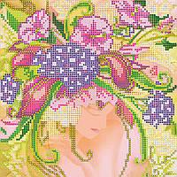 Схема для вышивки бисером на натуральном художественном холсте Девушка Лето