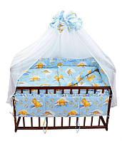 Постельный комплект 7 предметов Мишка в постели 7243 - цвет голубой ТМ Беби-Текс