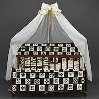 Постельный комплект Алинка 7 предметов с бантом - Луи Витон - цвет бежево-коричневый