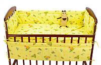 Комплект в детскую кроватку Кроха 4 элемента - ткань бязь - Жираф, ослик К4/001 - цвет бежевый ТМ Алекс