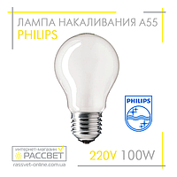 Лампа накаливания Philips Standard 100W E27 230V A55 FR 1CT/12X10F (стандартная матовая) 1340Lm