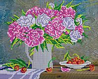 Схема для вышивки бисером на натуральном художественном холсте Букет пионов