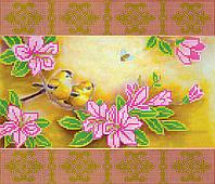Схема для вышивки бисером на натуральном художественном холсте Весеннее цветение