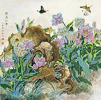 Схема для вышивки бисером на натуральном художественном холсте Китайские тюльпаны
