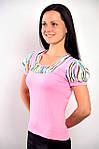Женская черная кофточка футболка с фонариками из тонкого трикотажа  ,Блуза 574421., фото 3