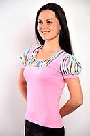 Розовая футболка с фонариками из тонкого трикотажа  ,Бл 576026