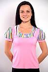 Женская черная кофточка футболка с фонариками из тонкого трикотажа  ,Блуза 574421., фото 4