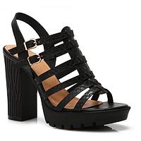 Босоножки женские на черном каблуке SK64-1A BLACK-1