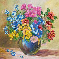 Схема для вышивки бисером на натуральном художественном холсте Луговые цветы