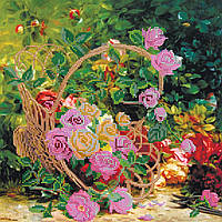 Схема для вышивки бисером на натуральном художественном холсте Садовые розы
