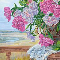 Схема для вышивки бисером на натуральном художественном холсте Любимые цветы