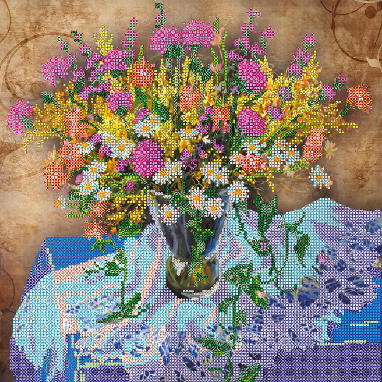 Схема для вышивки бисером на натуральном художественном холсте Луговые цветы-1