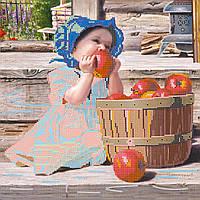 Схема для вышивки бисером на натуральном художественном холсте Первое яблочко