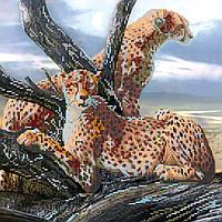 Схема для вышивки бисером на натуральном художественном холсте Сафари