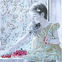 Схема для вышивки бисером на натуральном художественном холсте Девочка и вишни