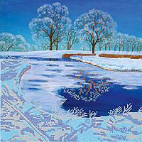 Схема для вышивки бисером на натуральном художественном холсте Хрустальное озеро