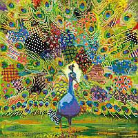 Схема для вышивки бисером на натуральном художественном холсте Лоскутный павлин