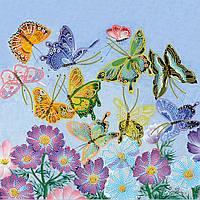 Схема для вышивки бисером на натуральном художественном холсте Танец бабочек