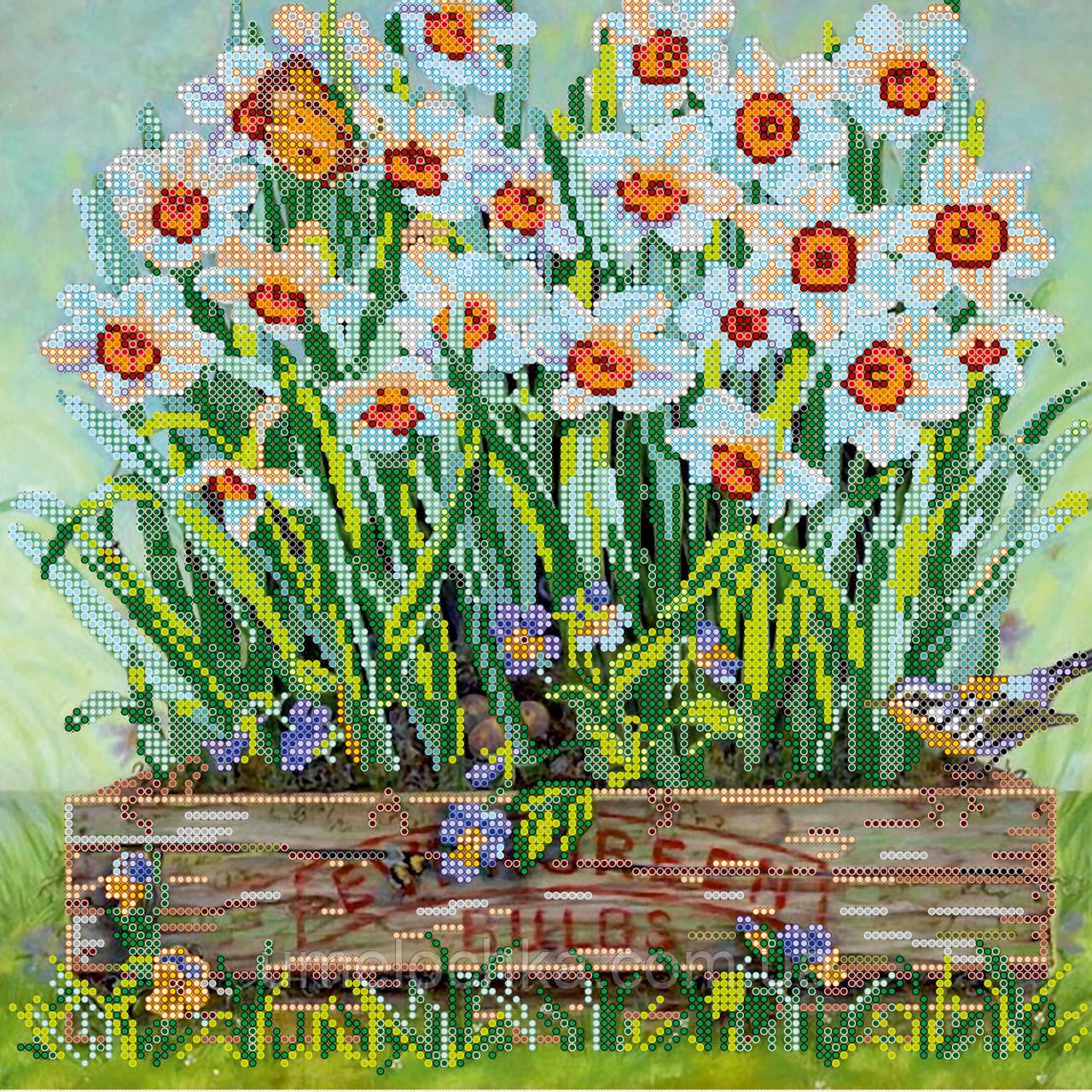 Схема для вышивки бисером на натуральном художественном холсте Нарциссы на подоконник