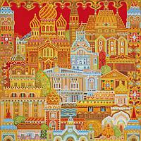 Схема для вышивки бисером на натуральном художественном холсте Город расписной