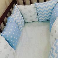 Бортики-подушечки в детскую кроватку с атласными лентами, фото 1