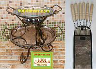 Набор из 6-ти шампуров с деревянной ручкой + садж для шашлыка 36х20 см.