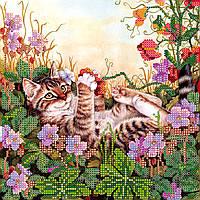 Схема для вышивки бисером на натуральном художественном холсте Забавы в цветах
